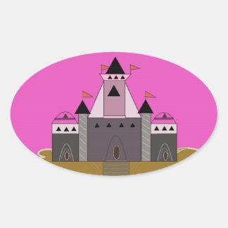 Pink Princess Castle Oval Sticker