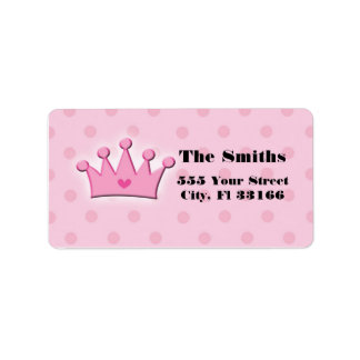 Pink Princess Crown Adress Labels Polka Dots