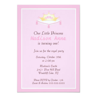 Pink Princess Crown Birthday Party Invitation