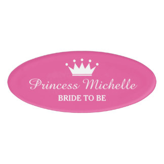 Pink princess crown magnetic name tags for bride name tag
