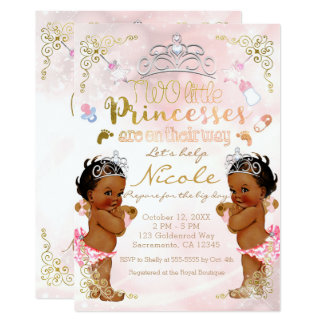 Pink Princess Ethnic Dark Twin Girls Baby Shower Card