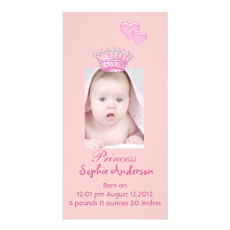 Pink Princess Girl Birth Announcement Photocard Card