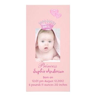 Pink Princess Girl Birth Announcement Photocard Photo Greeting Card