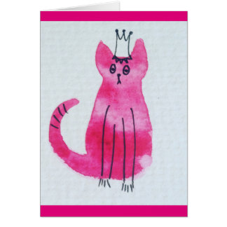 Pink Princess Kitty Birthday Card