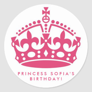 Pink Princess Party Tiara Favor Stickers