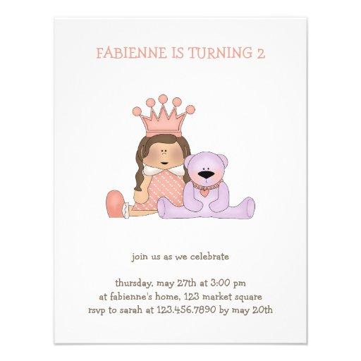 Pink Princess · Princess & Teddy Custom Invite