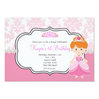 Pink Princess Red Hair  Damask and Pearls 5x7 Paper Invitation Card