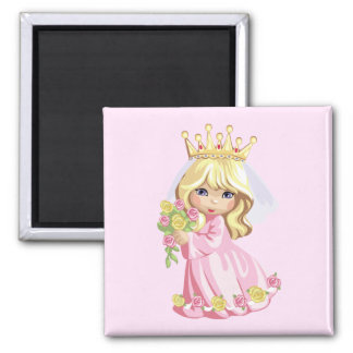 Pink Princess Square Magnet