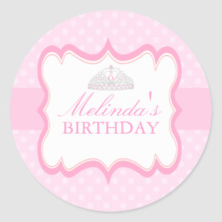 Pink Princess Tiara Girls Birthday Sticker
