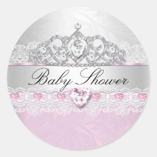 Pink Princess Tiara & Lace Baby Shower Stickers
