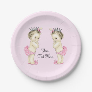 Pink Princess Twin Baby Girl 7 Inch Paper Plate