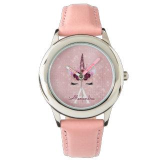 Pink Princess Unicorn Rose Gold Blush Pink Glitter Watch