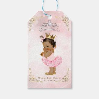 Pink Princess Vintage Tan Baby Girl Shower Favor Gift Tags