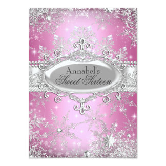 "Pink Princess Winter Wonderland Sweet 16 Invite 4.5"" X 6.25"" Invitation Card"