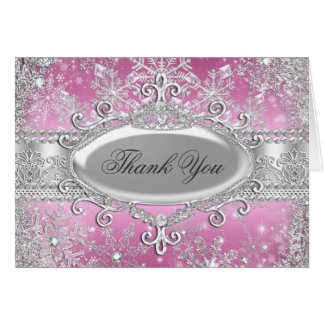 Pink Princess Winter Wonderland Thank You Card