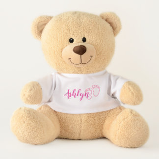 Pink Prints Footprint Little Baby Feet Name Teddy Bear