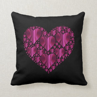 Pink Prismatic Love Hearts on Black Throw Pillow