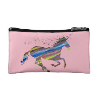 Pink prismatic unicorn cosmetic bag