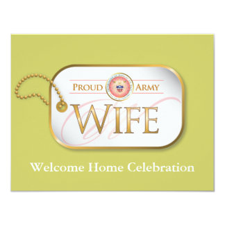 Pink Proud Army Wife 11 Cm X 14 Cm Invitation Card