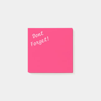 Pink Pucker-Hot Shocking Pink Dont Forget Post-it Notes