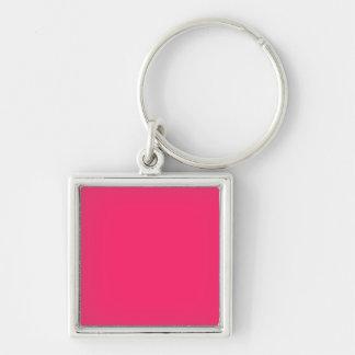 Pink Pucker-Hot Shocking Pink-Uptown Girl-Designer Silver-Colored Square Keychain