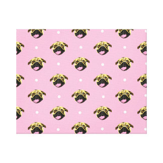 Pink Pug Pattern Stretch Canvas Print