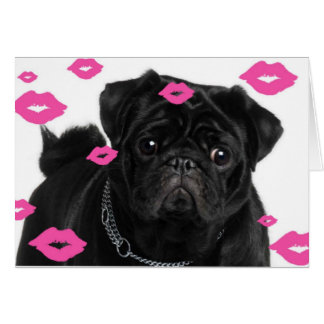 Pink Pugs and Kisses Note Card