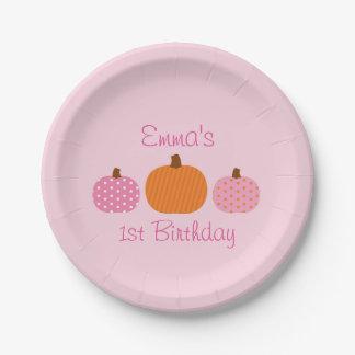 Pink Pumpkin 1st Birthday Paper Plate