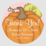 Pink Pumpkin Baby Shower Thank You Stickers