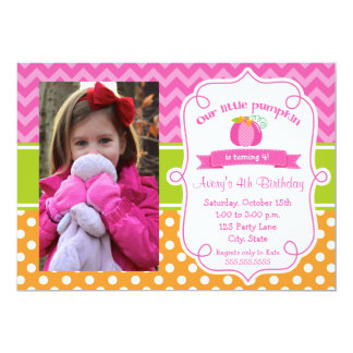 Pink Pumpkin Birthday Invitation, Photo Pumpkin Card