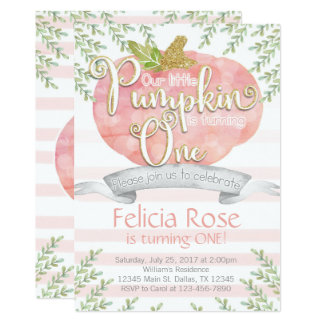 Pink Pumpkin Birthday Party Invitation Invite