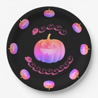 Pink Pumpkin Halloween Paper Plate