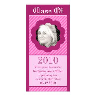 Pink Punk Cookie Cut Out Graduation Photo Card