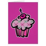 pink punk skull crossbones cupcake card