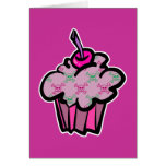 pink punk skull crossbones cupcake greeting card