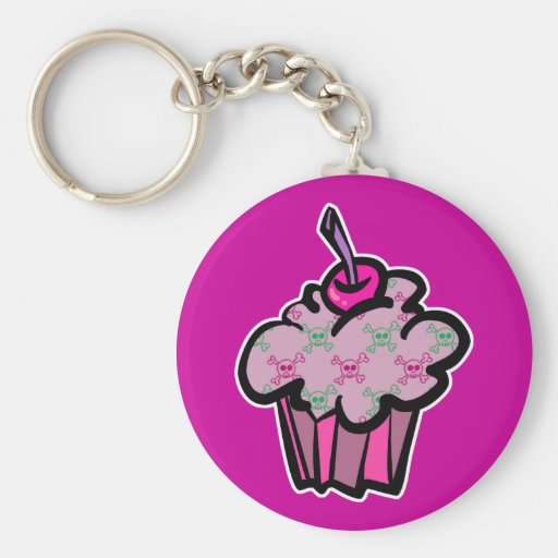 pink punk skull crossbones cupcake key chains