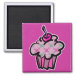 pink punk skull crossbones cupcake refrigerator magnet