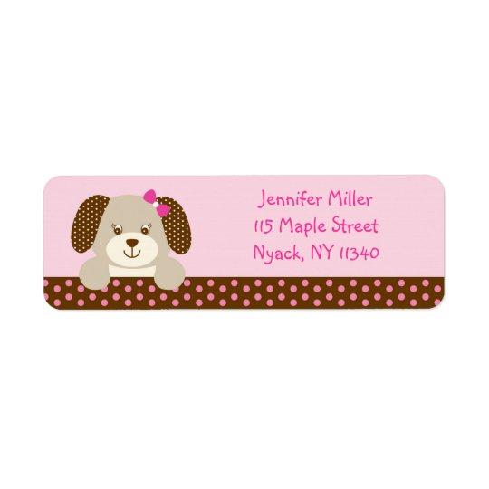 Pink Puppy Baby Shower Address Return Address Label