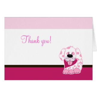 Pink Puppy Dog Folded Thank you note Greeting Card