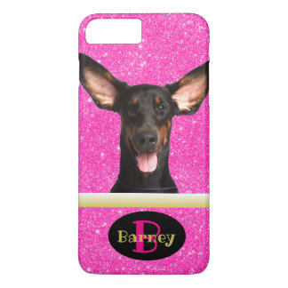 Pink Puppy Dog Lover Custom Photo Name & Monogram iPhone 8 Plus/7 Plus Case