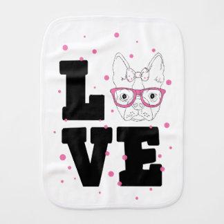 Pink Puppy Love Burp Cloth