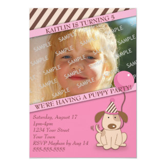 Pink Puppy Party Photo Template 13 Cm X 18 Cm Invitation Card