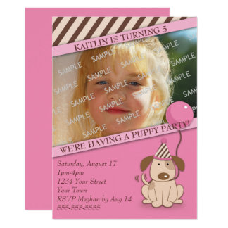 Pink Puppy Party Photo Template Card