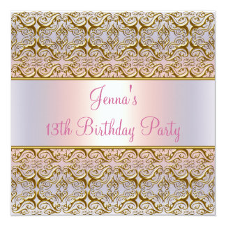 Pink Purple 13th Birthday Party Invitation 13th