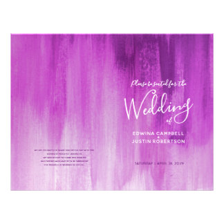 Pink purple abstract art wedding programme