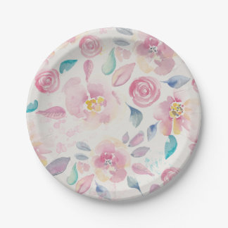 Pink Purple and Blue Floral pattern Paper Plate