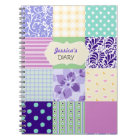 Pink, Purple and Green Personalised Girly Diary Notebook