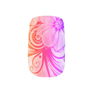 Pink, Purple and Orange Floral Minx Nail Art