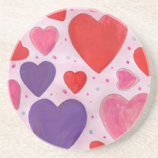 Pink Purple and Red Valentine's Day Hearts Coaster