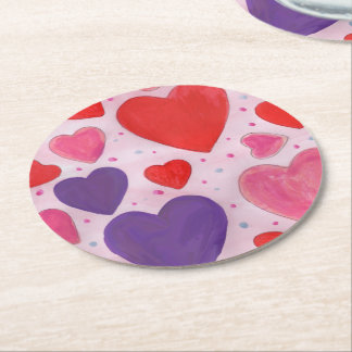 Pink Purple and Red Valentine's Day Hearts Round Paper Coaster
